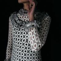 vintage 1960s Frill Lace Long Dress