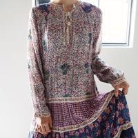 1970s Indian Cotton Gauze Floral Dress