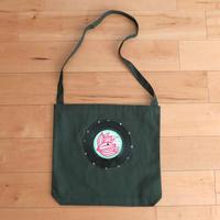 本物のレコードを使ったショルダーバッグ 斜め掛けバッグ「bagu」ダークグリーン  ST-015GRN