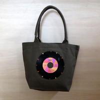 本物のレコードを使ったバッグ「bagu」キャンバス ガーデントート カーキ レコードバッグ アップサイクル GT-102KP