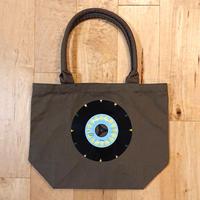 本物のレコードを使ったバッグ「bagu」キャンバスガーデントート カーキ レコードバッグ アップサイクル  GT-101KBL