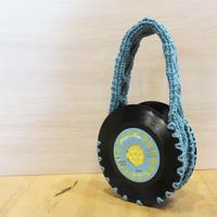 本物のレコードで出来たバッグ「bagu 」cotton strings smoke blue アップサイクル(UP cycle)