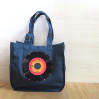 本物のレコードを使ったラウンドトートバッグ「bagu」ネイビーxレッド  HT001-NR