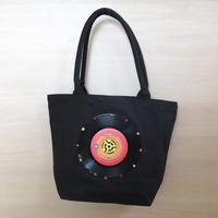 本物のレコードを使ったガーデントートバッグ「bagu」キャンバス  ブラック レコードバッグ アップサイクル GT-103BKR