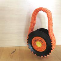 本物のレコードで出来たバッグ「bagu 」cotton strings orange アップサイクル(UP cycle)