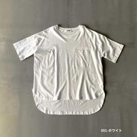 綿麻カット ポケット付きラウンドヘム半袖Tシャツ