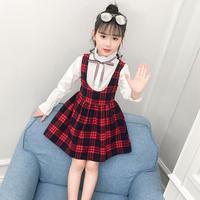 韓国子供服 サロべットワンピース+Tシャツ 女の子 入学式 チェック柄ワンピース 2点セット 子供服 入学式 キッズドレス セットアップ 新作 パーティー 七五三送料無料 TAGX11847