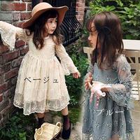 発表会 結婚式 キッズ ボタニカル花柄レース刺繍の長袖ワンピースドレス 女の子ジュニア 子供ドレス 韓国子供服 ピアノ 送料無料 TAGX10413
