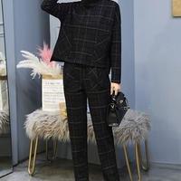 スーツ フォーマル パンツスーツ 2点セット パンツ 春 秋 長袖 オフィス セットアップ ジャケット スーツセット 格子柄 上下セットアップ チェック柄 TAGX10866
