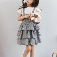 キッズ 子ども服(女の子) ワンピース サスペンダースカート 袖なし チュール 卒園式 入園式 入学式 フォーマル 韓国子供服 可愛い 女の子らしい チェック柄 TAGX11068