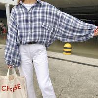 トップス シャツ ブラウス 長袖 ドルマン風チェックシャツ 肩落ち 大きめ ゆったり ビックサイズ 通勤 通学 カジュアル 羽織 春夏秋冬 プチプラ TAGX10602