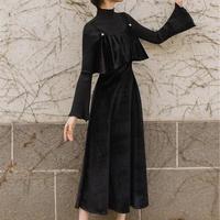 ベロア風 ヴィスチェ ワンピース 黒 切替ワンピ ロングワンピ Aライン ロングドレス ブラックドレス シフォンワンピース 袖あり パーティードレス S/M/L ミモレ丈 TAGX12035