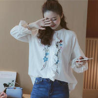 花柄刺繍シャツ 刺繍ブラウス レディース トップス ブラウス 透け感 花柄 プルオーバー スキッパー スキッパーシャツ 送料無料 TAGX10126