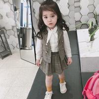 韓国子供服風 子供 スーツ長袖 シャツベスト プリーツスカート ドレス ガールズワンピース 女の子 長袖 ブラウス ベスト スカート 発表会 卒業式 スーツ ピアノ TAGX11949