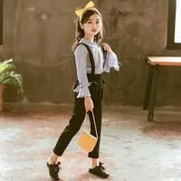 キッズ服 女の子ツーピース2点セット ブラウス+ サロペット ブラウス 長ズボン 上下セット 韓国子供服 韓国服 子供服 キッズ ジュニア 女の子 TAGX11779