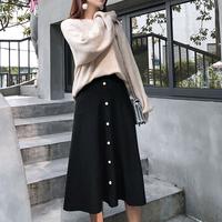 スカート Aライン リブニット フレアスカート ミモレ丈 パール ボタン付き 大きいサイズ ゆったり レディース かわいい きれい目 大人っぽい ブラック 送料無料 TAGX11953