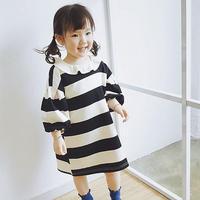 ボリューム袖 襟付き プチプラ お買い得商品 ブラック ボーダー 女の子ワンピース 韓国子供服 こどもカジュアルワンピース 90‐125cm 女の子送料無料 TAGX10806