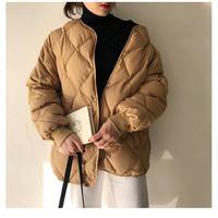 お買い得 キルティング ジャケット セール ダウン ライト アウター ノーカラー 中綿 ダウン ゆったり 体型カバー 秋 冬 大きめ カジュアル 韓国ファッション 送料無料 TAGX11888