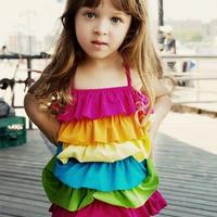 キッズ 子ども服 子ども水着 水泳用品 女の子用水着 スポーツ 水泳 ファッション水着 水着(女の子) ワンピース水着 ケーキスカート 女の子 レインボーカラー TAGX11156