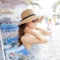 ファッション小物 帽子 麦わら帽子 ストローハット 選べるカラー 折りたたみ可 紫外線防止 UVカット 可愛い リボン つば広 ブレードハット 持ち運び便利 TAGX10074