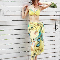 水着 水着セット パレオ付き 花柄 クラシックビキニ 3点セット 体型カバー 着こなし自在 巻きスカート ワンピース ペアトップ 蝶々柄 TAGX10017