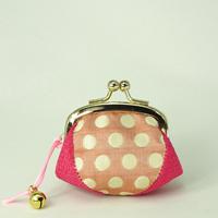 1.7寸四つはぎ(鈴付き) ふくれ織 水玉 ピンク色