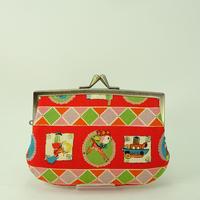 4.3寸角切親子財布 レトロ柄 赤色