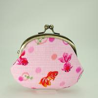 3.3寸丸小銭入れ  金魚 ピンク色
