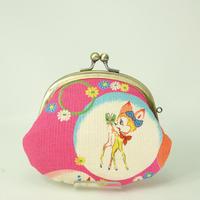 3.3寸丸小銭入れ レトロ 女の子 バンビ ピンク色