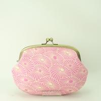 5.5寸クシポーチ ふくれ織 菊づくし ピンク色