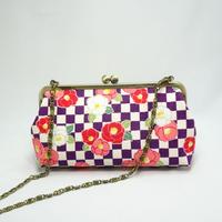6.8寸碁石玉ショルダーバッグ 市松に椿紫