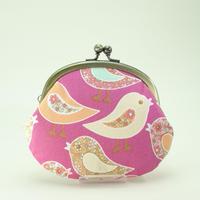 3.3寸丸小銭入れ 鳥 ピンク
