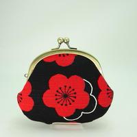 3.3寸丸小銭入れ  梅 シャンタン生地 赤×黒色