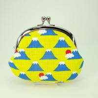 3.3寸丸小銭入れ 富士山 黄色