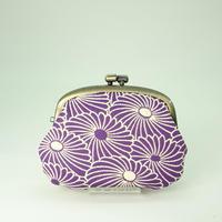 3.3.寸タワラ玉小銭入れ ふくれ織り 菊づくし 紫色
