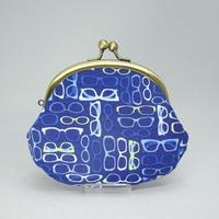 3.3寸丸小銭入れ メガネ柄 青色