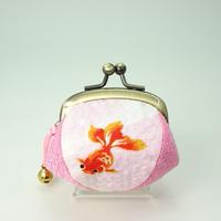 1.7寸四つはぎ(鈴付き) 金魚ワッフル地 ピンク色