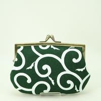 4.3寸角切親子財布 帆布唐草 緑色