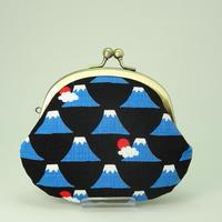 3.3寸丸小銭入れ 富士山 黒色