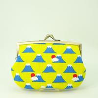 4.3寸角切親子財布 富士山 黄色