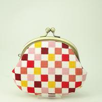 3.3寸丸小銭入れ カラフル市松  ピンク色