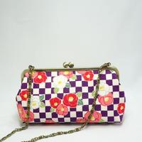 6.8寸碁石玉 ショルダーバッグ 市松に椿 紫色