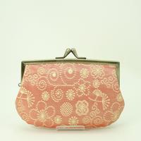 4.3寸角切親子財布 ふくれ織てんてん メタルピンク色