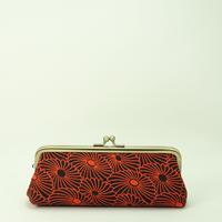 5.5寸ペンケース ふくれ織 菊づくし 赤色