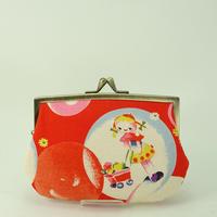 4.3寸角切親子財布 レトロ 女の子・バンビ 赤色