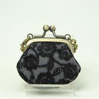 1.2寸豆角 刺繍小花 黒色