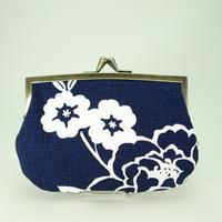 4.3寸角切親子財布 牡丹 紺色①