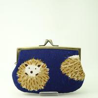 4.3寸角切親子財布 はりねずみ ブルー色