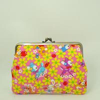 5.5寸平型 レトロ バンビ・うさぎ・りす・リンゴ ピンク色