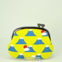 3.0寸タワラ玉横捻り小銭入れ 富士山 黄色